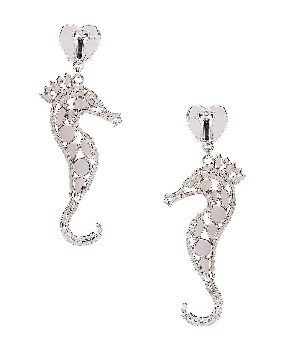Image 4 of Alessandra Rich Seahorse Earrings in Silver