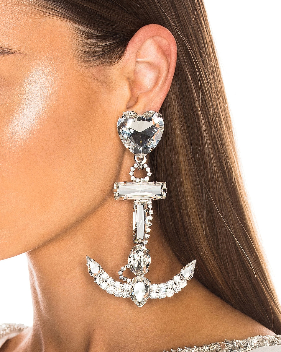 Image 2 of Alessandra Rich Crystal Anchor Earrings in Silver