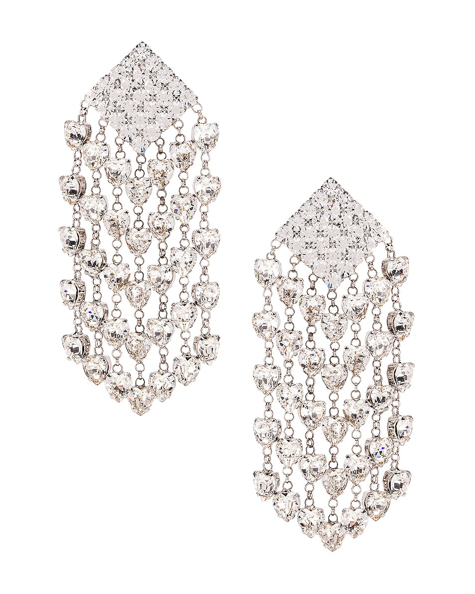 Image 1 of Alessandra Rich Heart Cascade Clip Earrings in Crystal