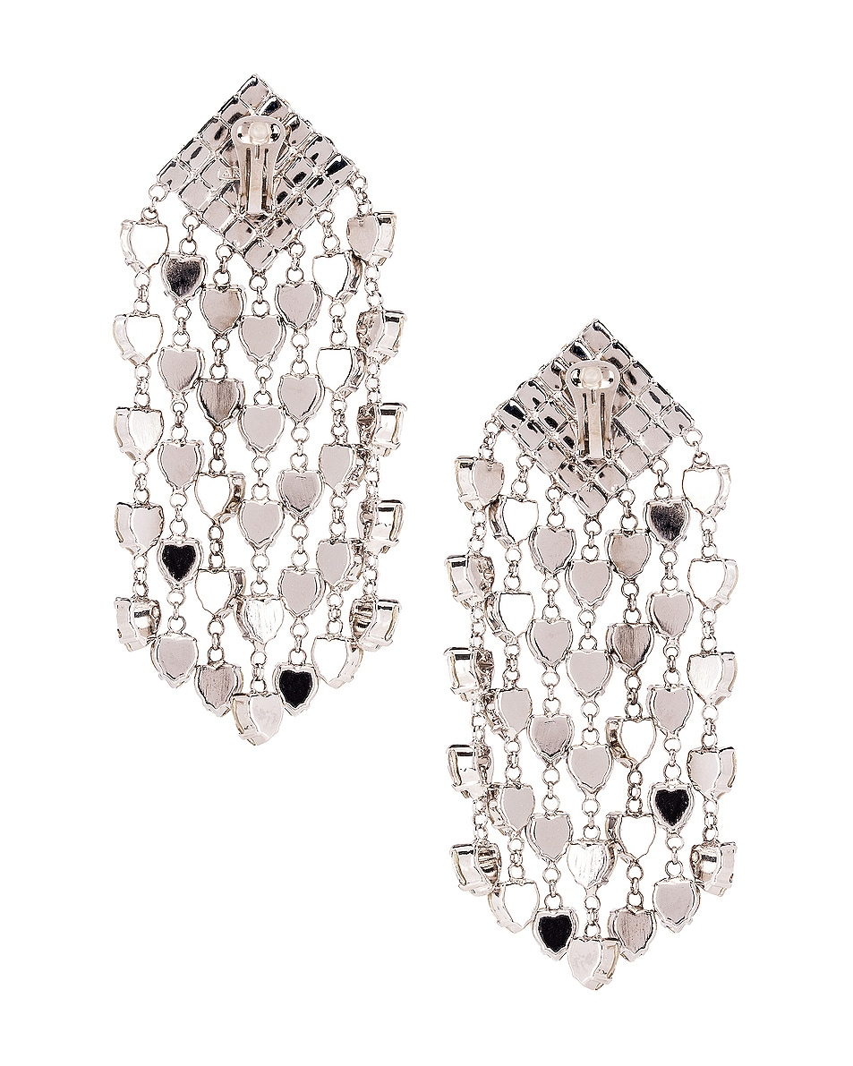 Image 4 of Alessandra Rich Heart Cascade Clip Earrings in Crystal