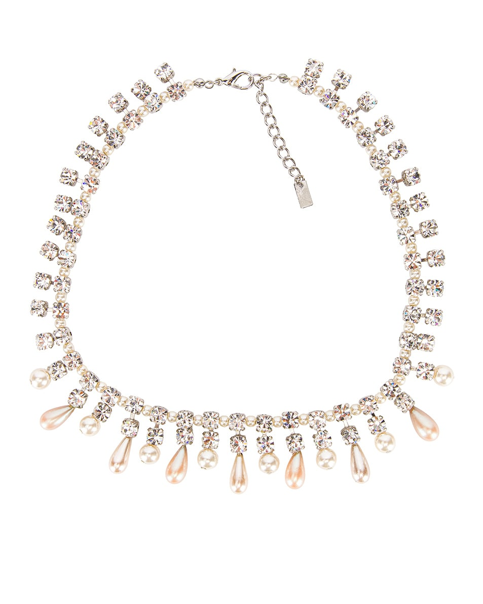 Image 1 of Alessandra Rich Pearl Drops Necklace in Crystal & Pearl