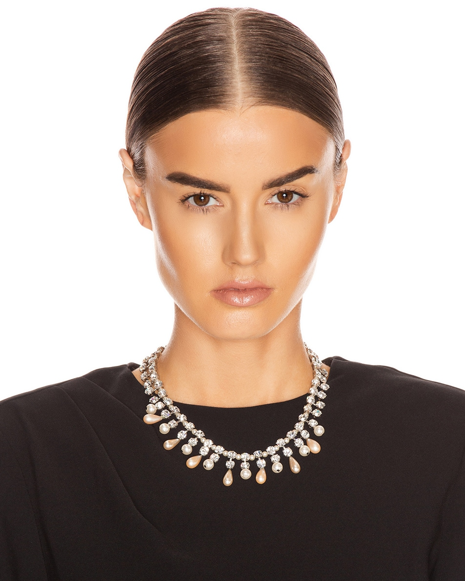 Image 2 of Alessandra Rich Pearl Drops Necklace in Crystal & Pearl