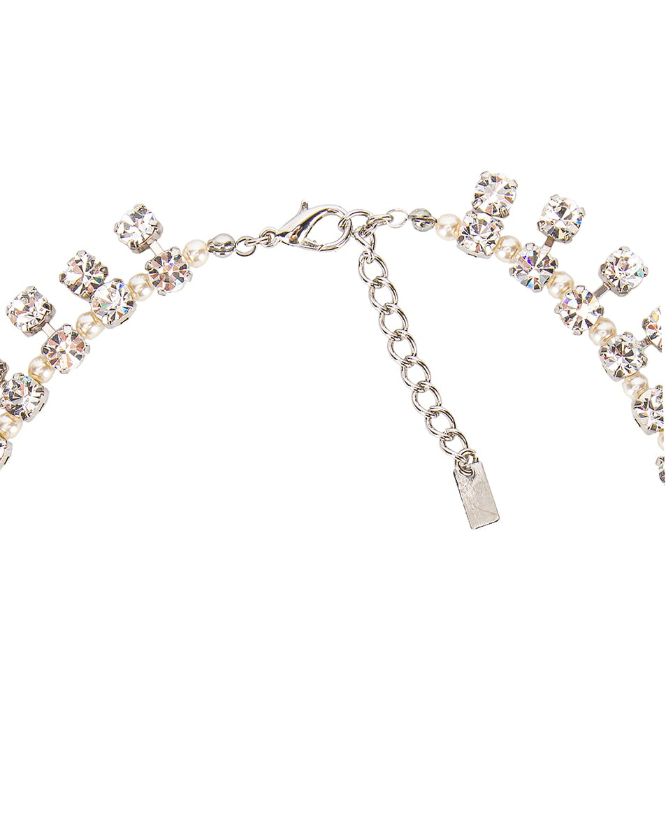Image 4 of Alessandra Rich Pearl Drops Necklace in Crystal & Pearl