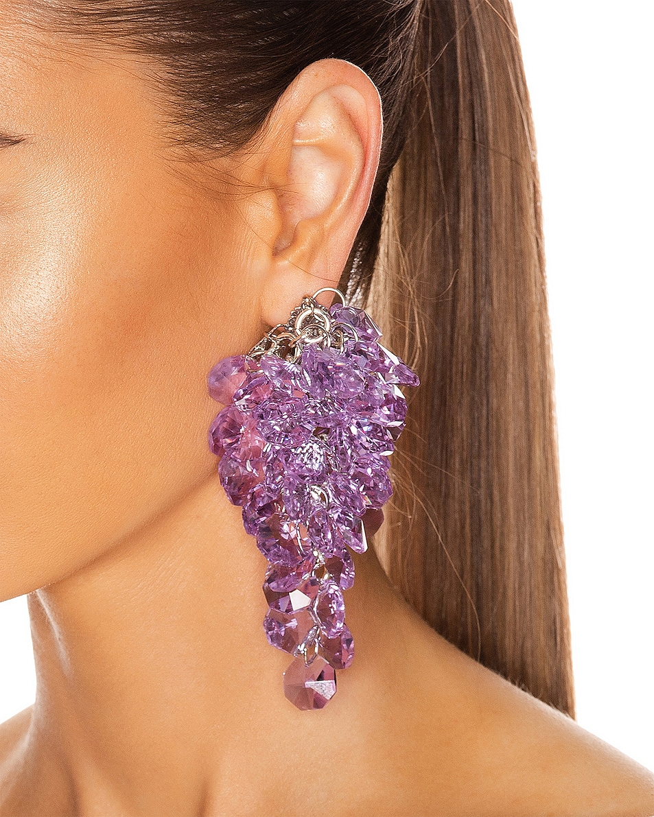 Image 2 of Alessandra Rich Glass Earrings in Lilac