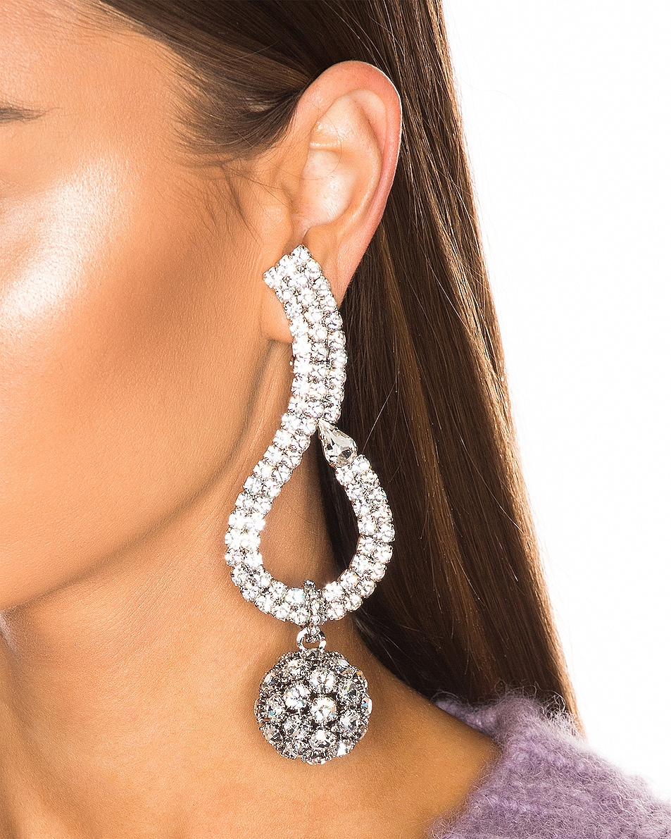 Image 2 of Alessandra Rich Sphere Earrings in Crystal