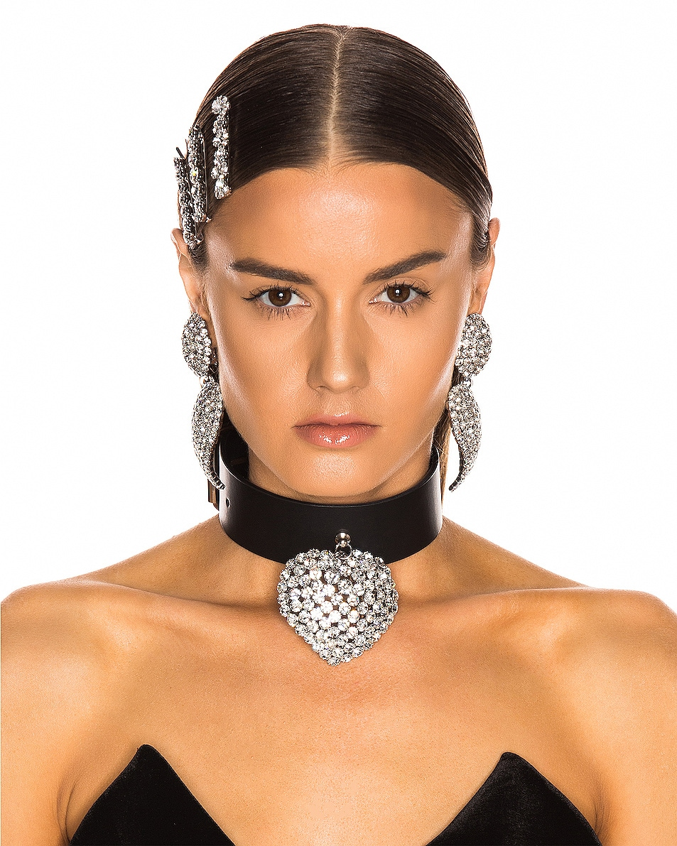 Image 2 of Alessandra Rich Leather Heart Pendant Choker Necklace in Crystal & Black