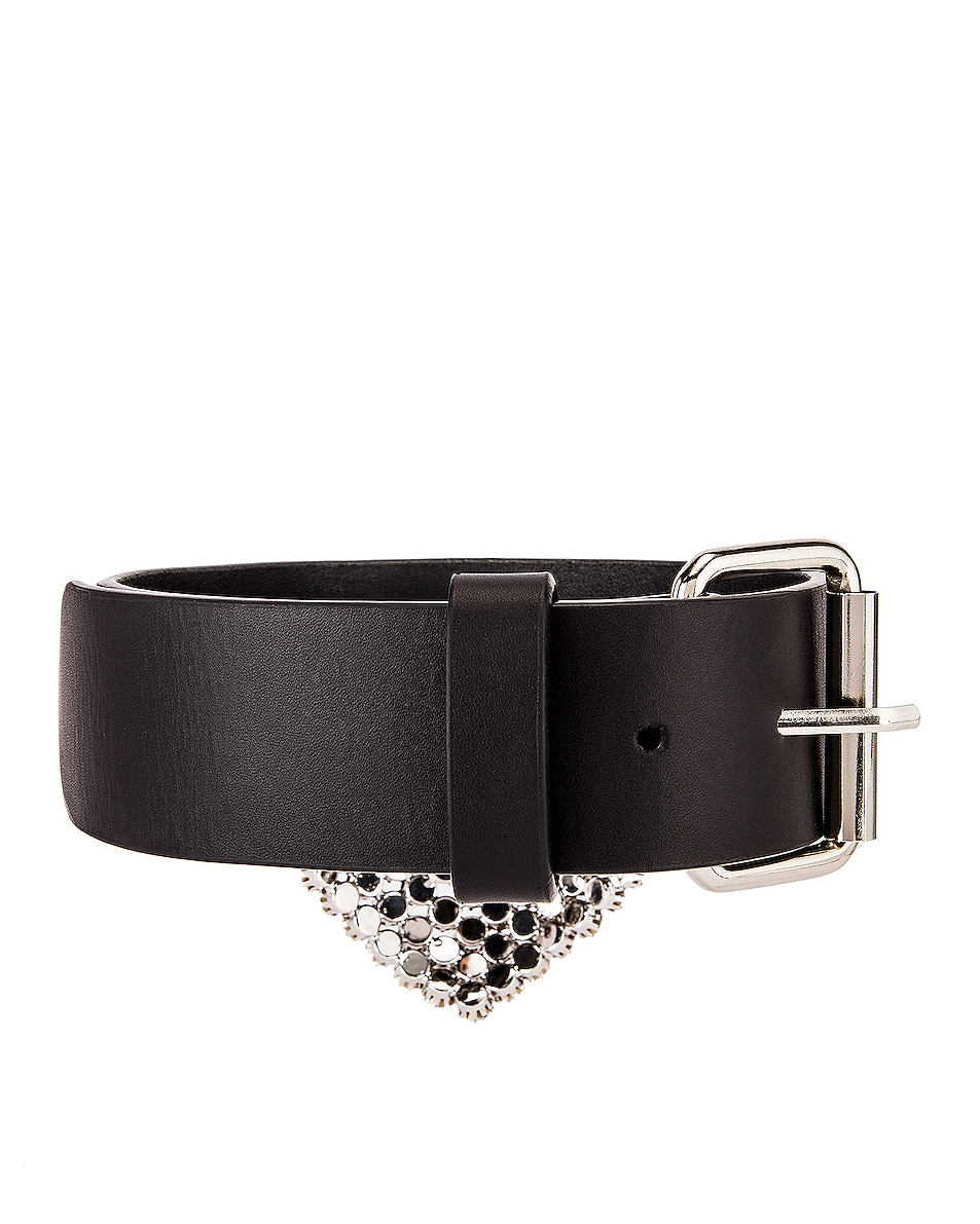 Image 5 of Alessandra Rich Leather Heart Pendant Choker Necklace in Crystal & Black