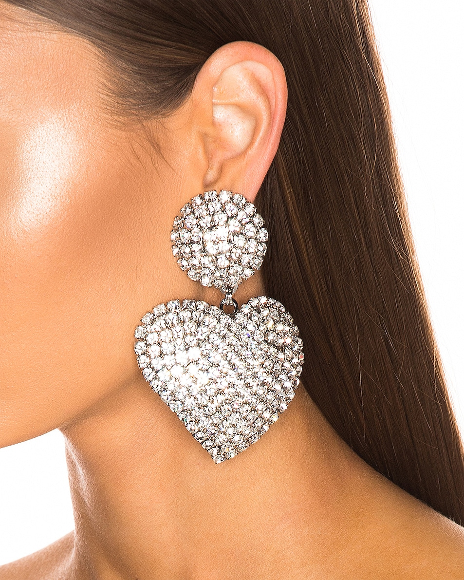 Image 2 of Alessandra Rich Heart Earrings in Crystal