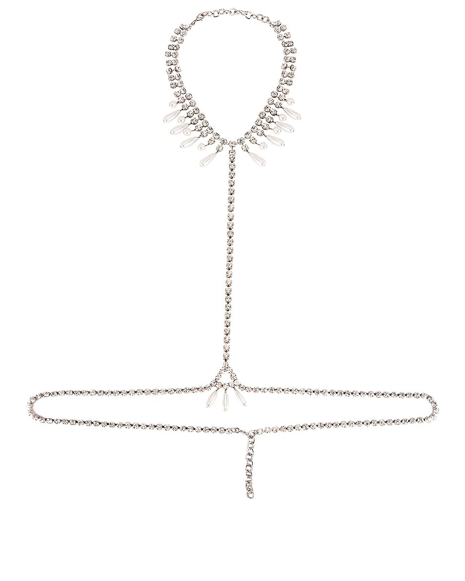 Image 1 of Alessandra Rich Necklace Pearl Body Chain in Crystal & Pearl