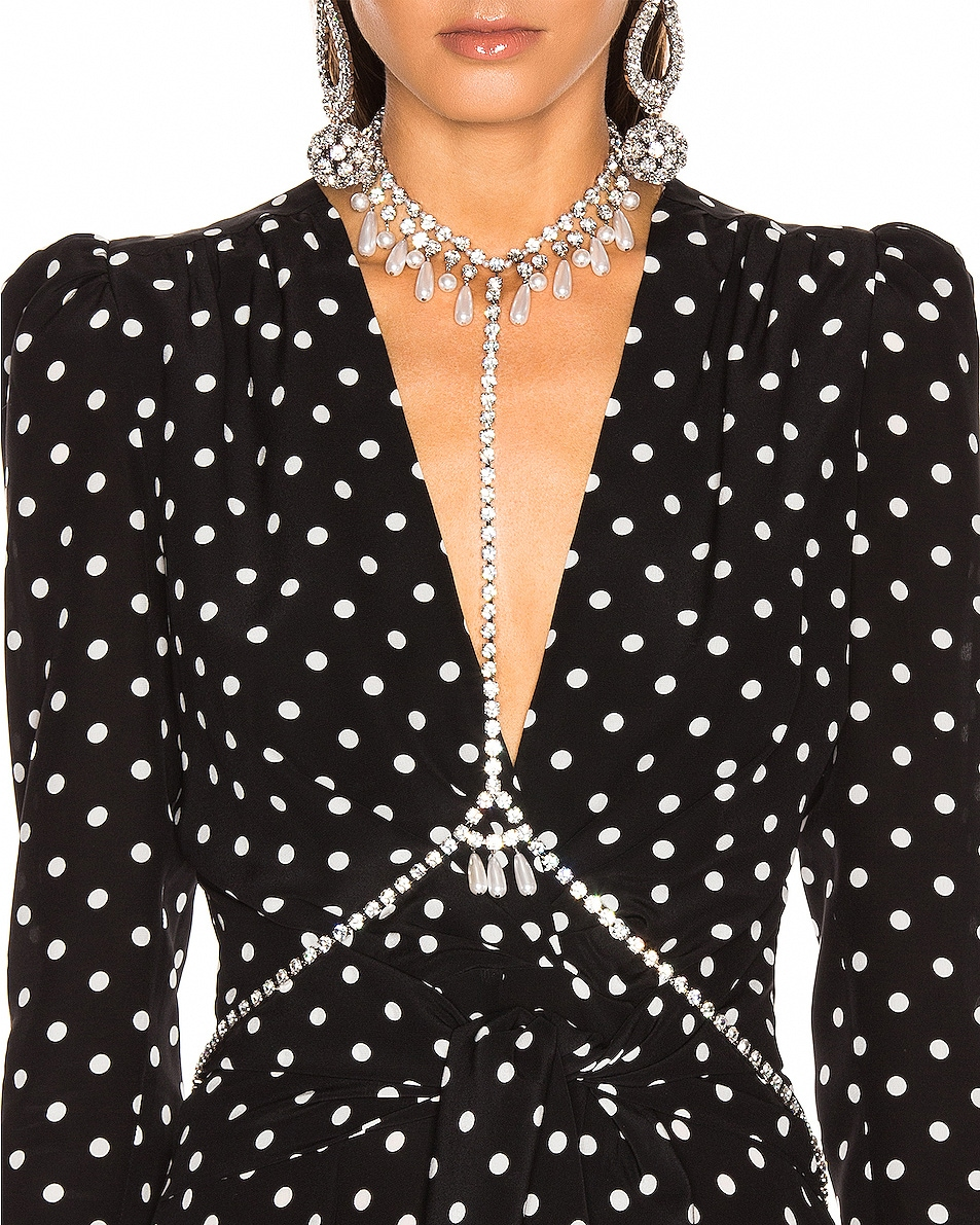 Image 2 of Alessandra Rich Necklace Pearl Body Chain in Crystal & Pearl