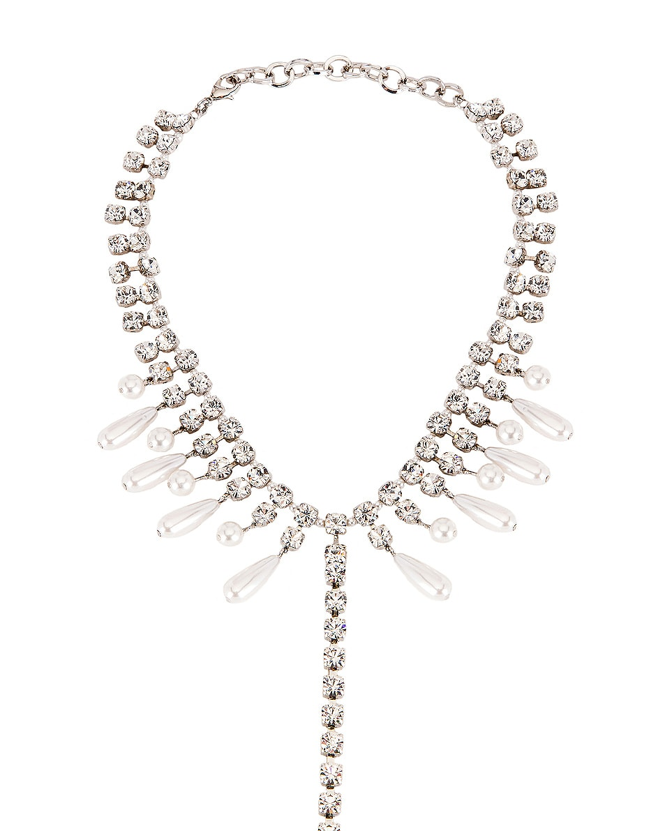 Image 3 of Alessandra Rich Necklace Pearl Body Chain in Crystal & Pearl