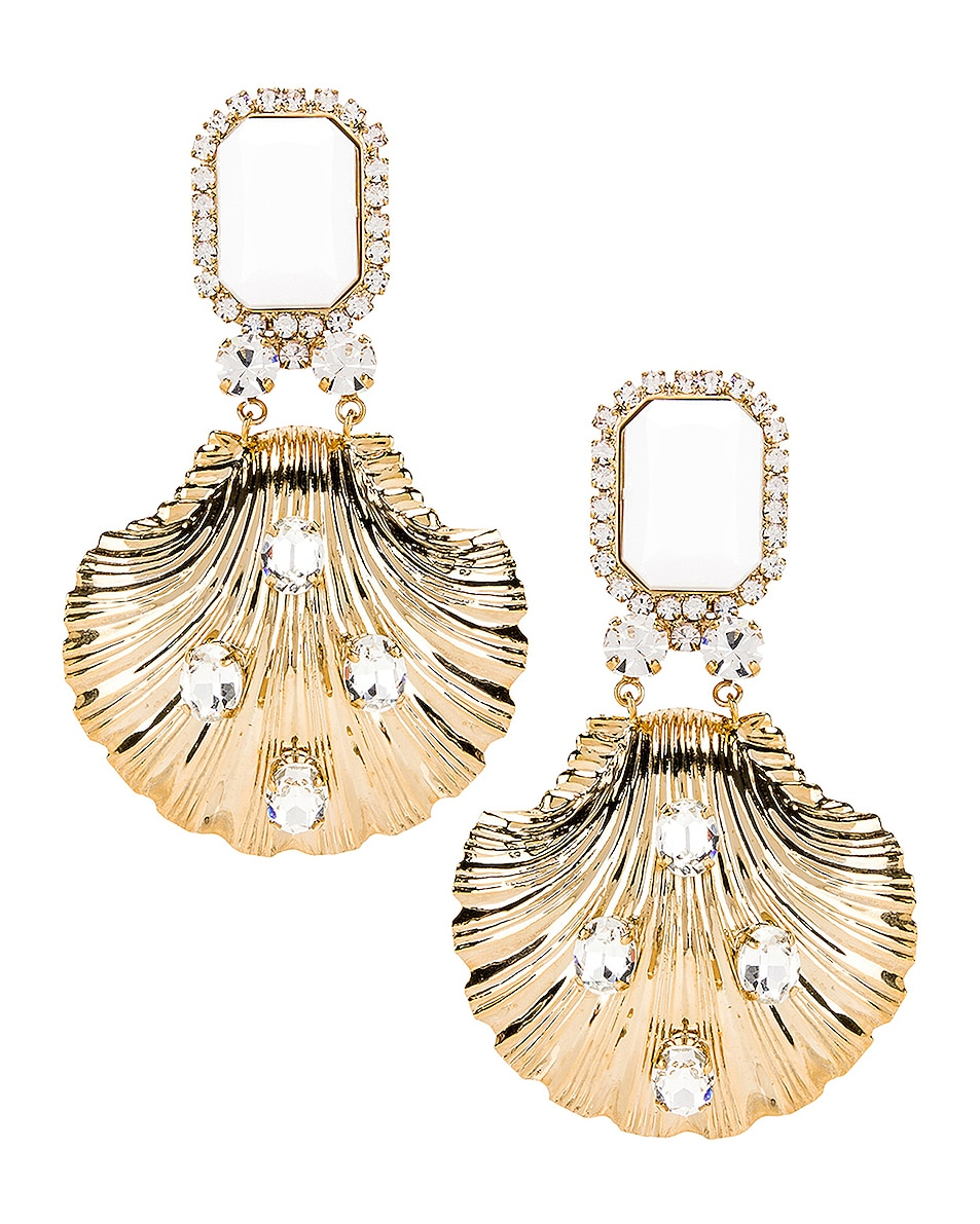 Image 1 of Alessandra Rich Shell Earrings in Gold