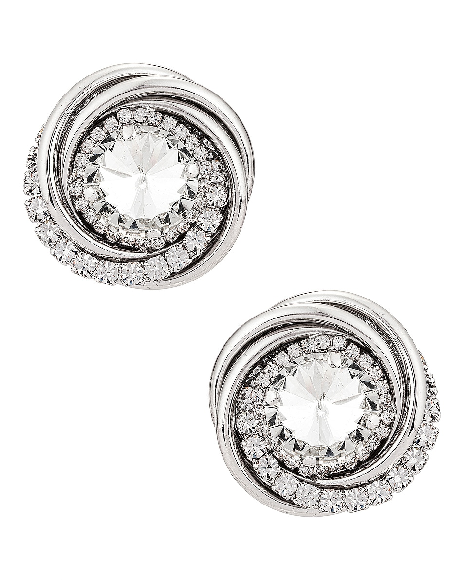 Image 1 of Alessandra Rich Double Torchion Earrings in Crystal