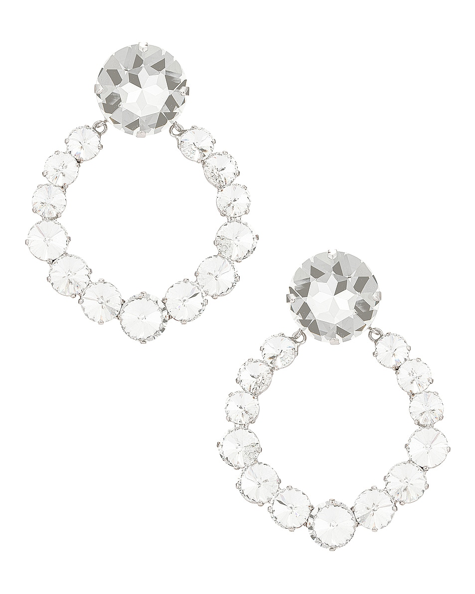 Image 1 of Alessandra Rich Circle Crystal Earrings in Crystal