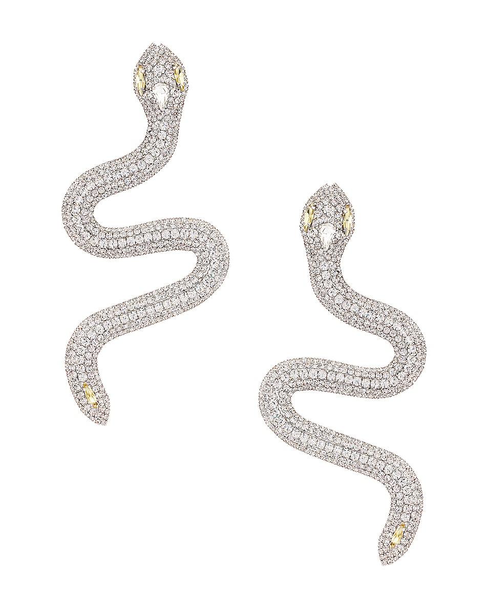 Image 1 of Alessandra Rich Snake Earrings in Crystal