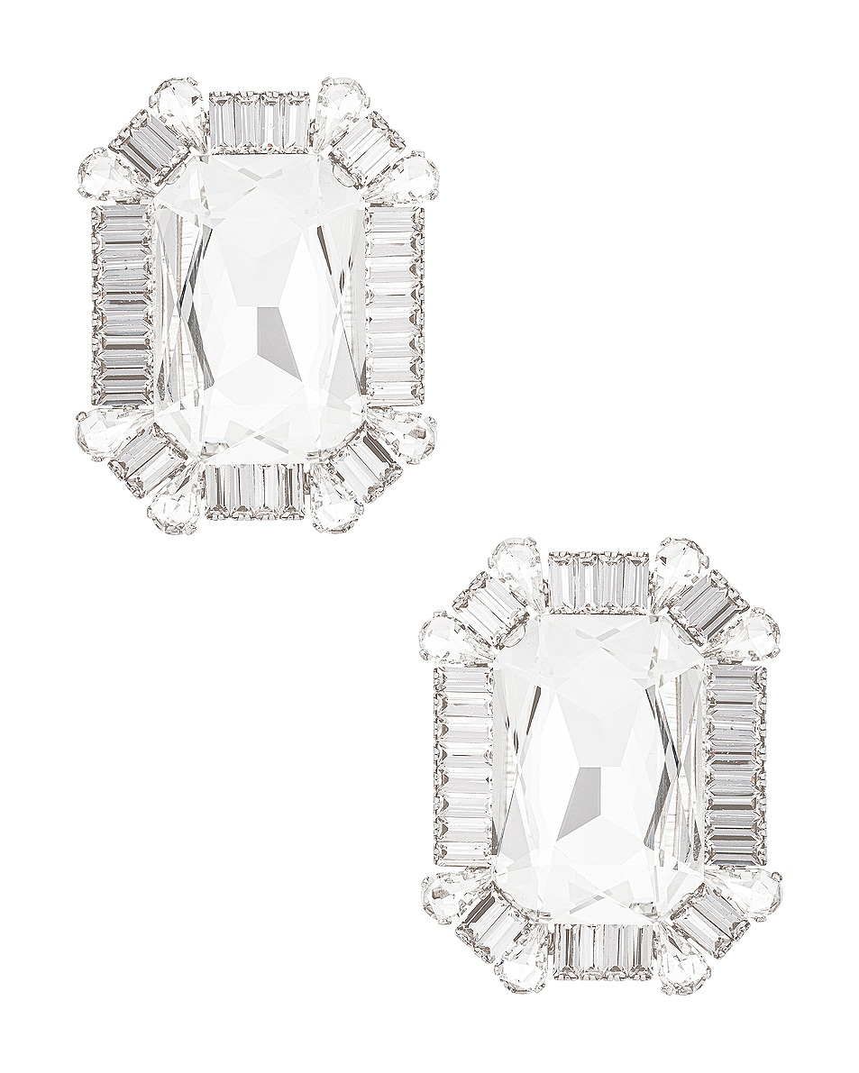 Image 1 of Alessandra Rich Square Crystal Clip Earrings in Crystal