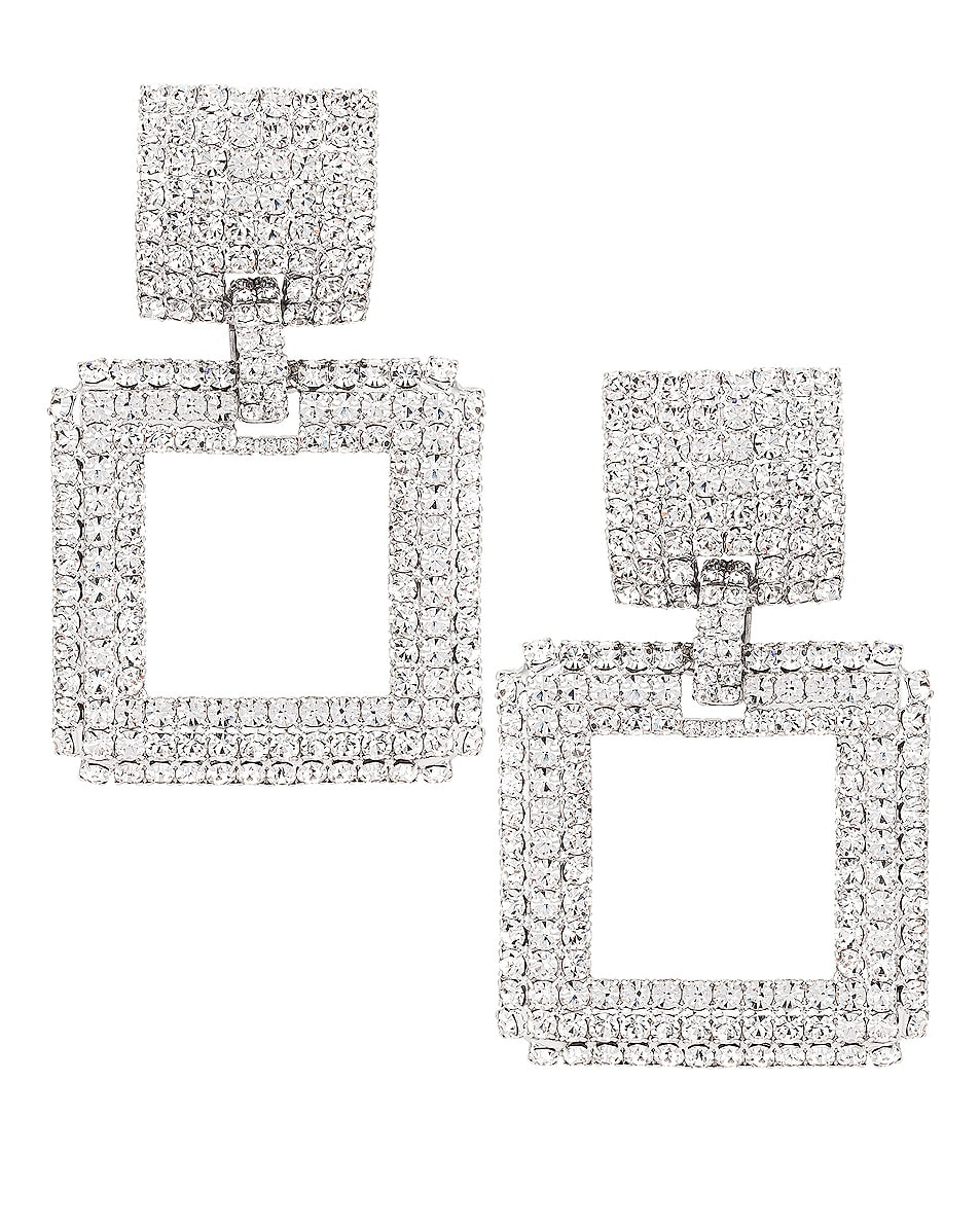 Image 1 of Alessandra Rich Square Earrings in Crystal