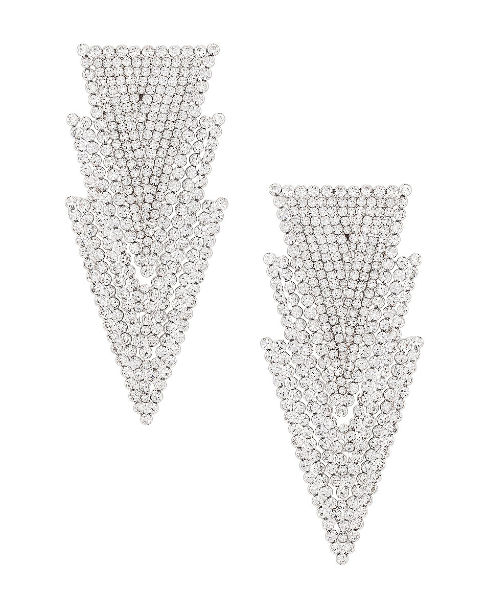 Image 1 of Alessandra Rich Three Triangle Earrings in Crystal