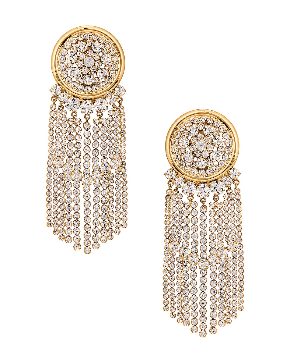 Image 1 of Alessandra Rich Crystal Cascade Earrings in Gold
