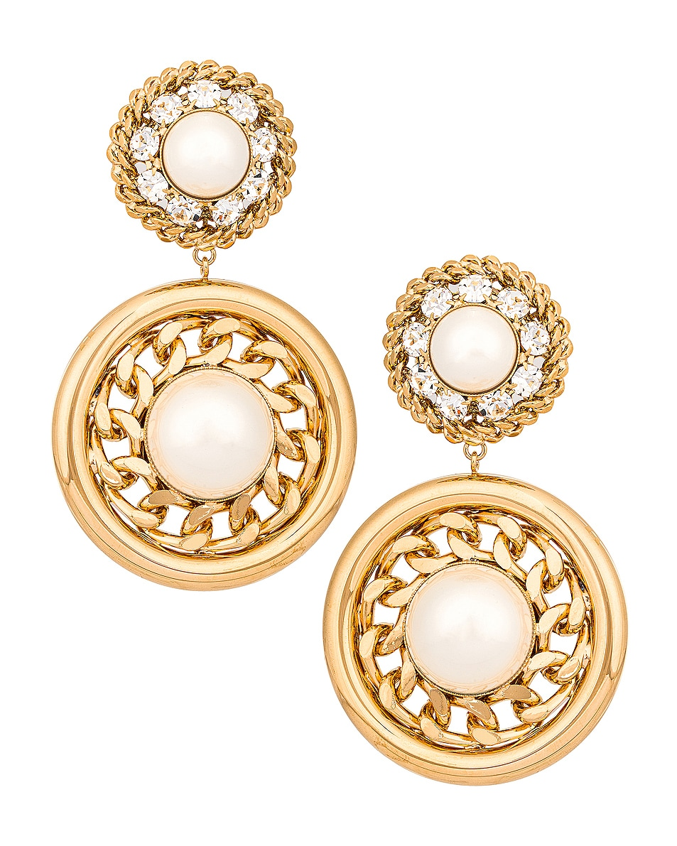 Image 1 of Alessandra Rich Gold Circle Pearl Earrings in Gold