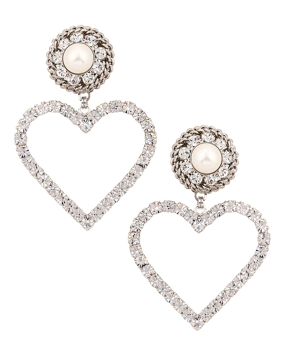 Image 1 of Alessandra Rich Crystal Heart Earrings with Pearl Clip in Silver