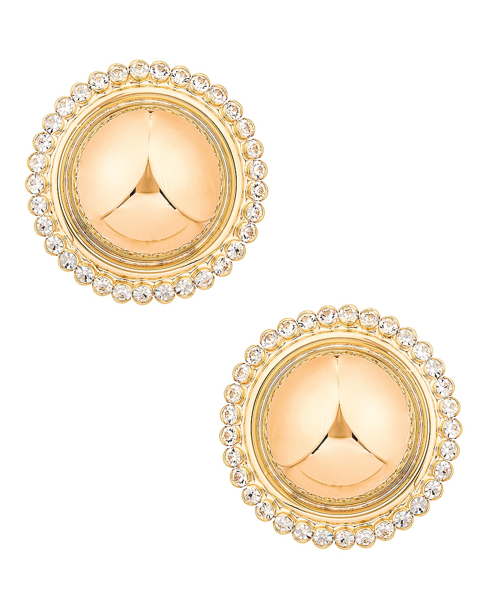 Image 1 of Alessandra Rich Gold Half Sphere Clip Earrings in Gold