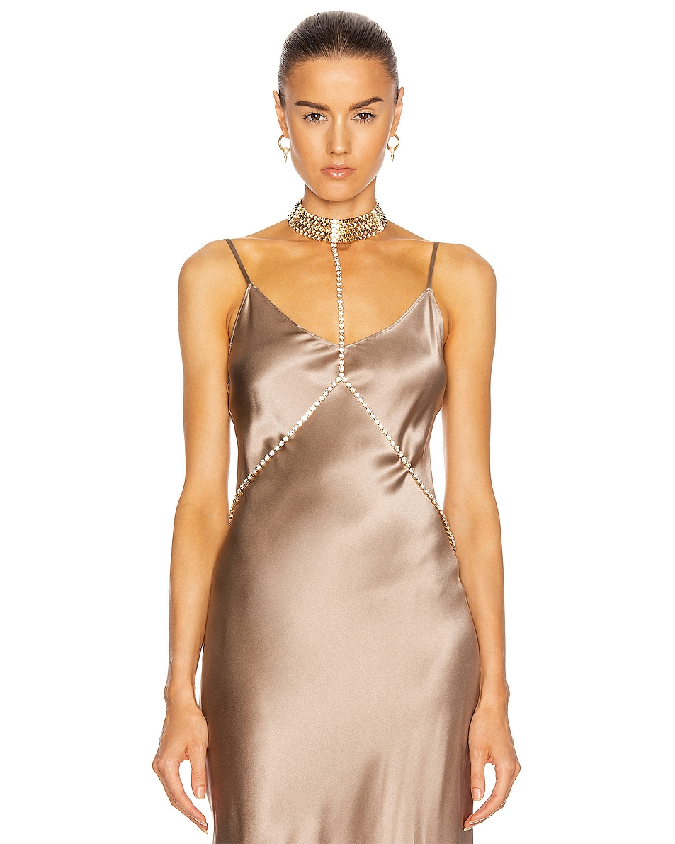 Image 1 of Alessandra Rich Gold Crystal Body Chain in Gold
