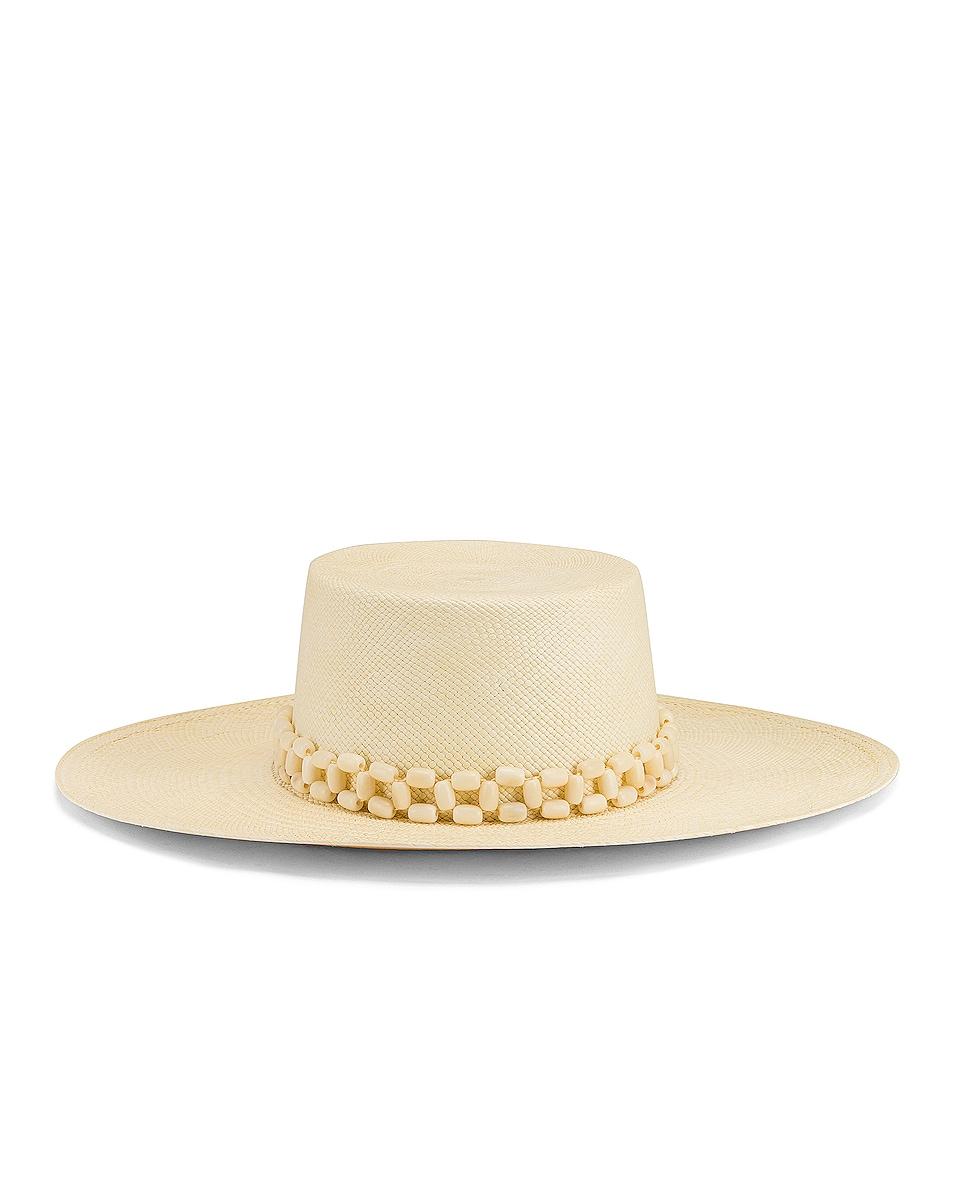 Image 1 of Artesano Tulipan Beaded Hat in Natural