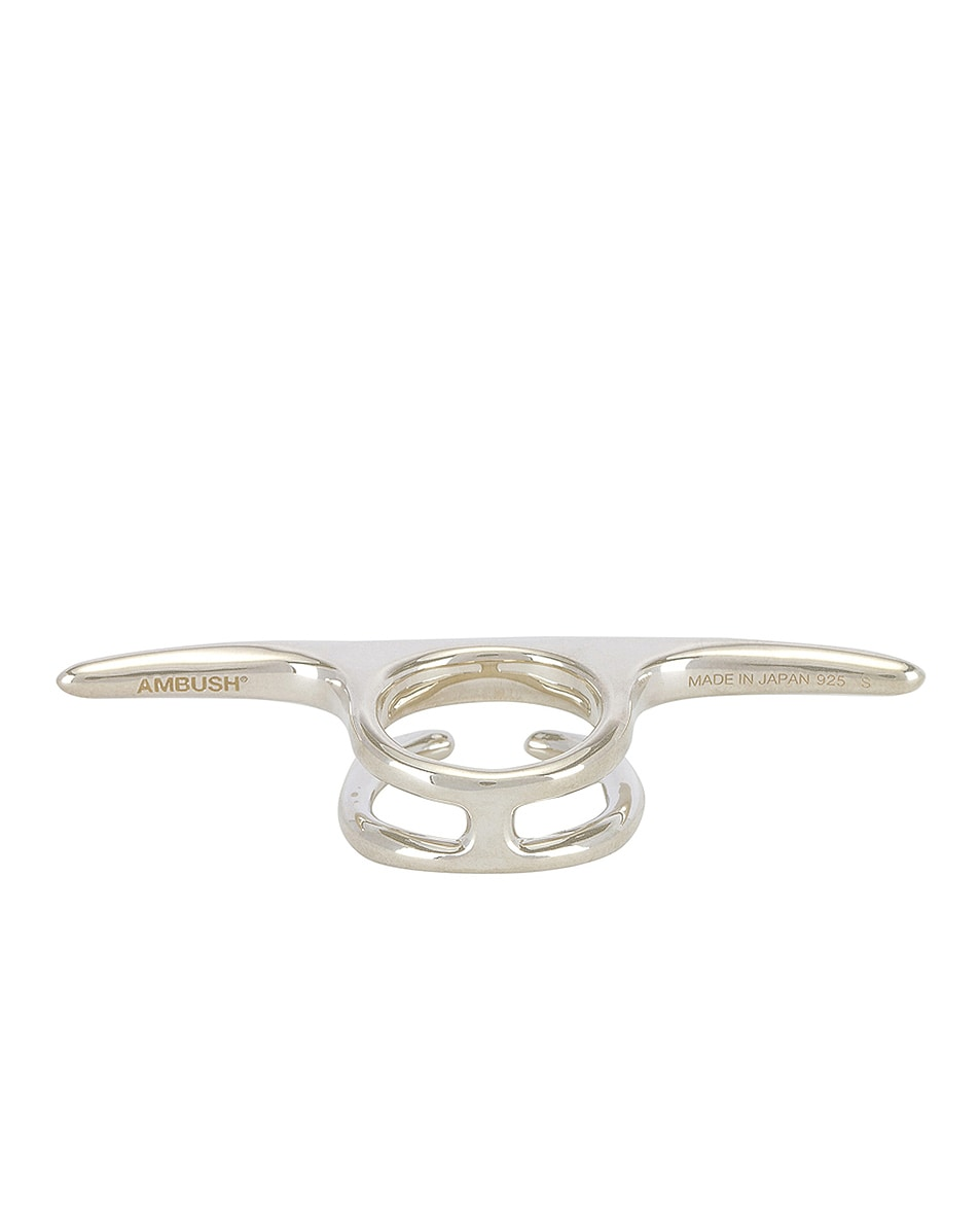 Image 3 of Ambush Liquid Multi Finger Ring in Silver