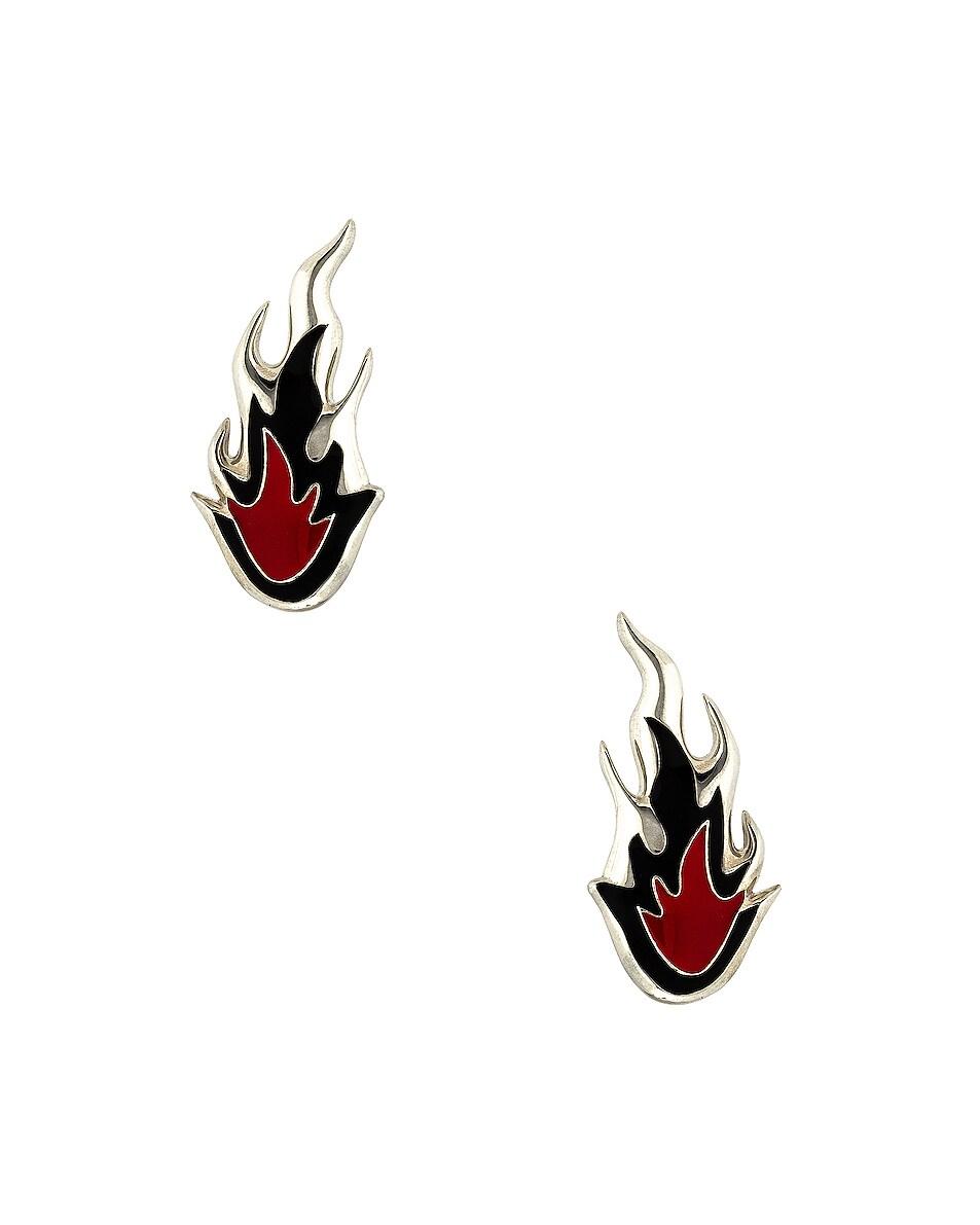 Image 1 of Ambush Flame Earrings in Silver