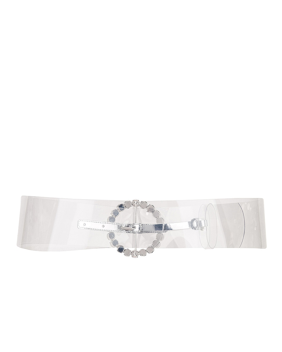 Image 2 of ATTICO Circle Buckle Belt in Clear