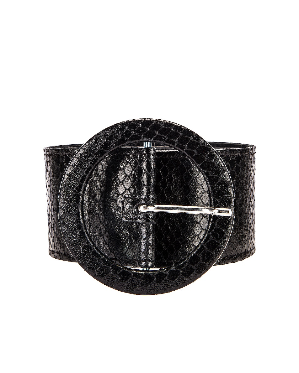 Image 1 of ATTICO Python Print Belt in Black
