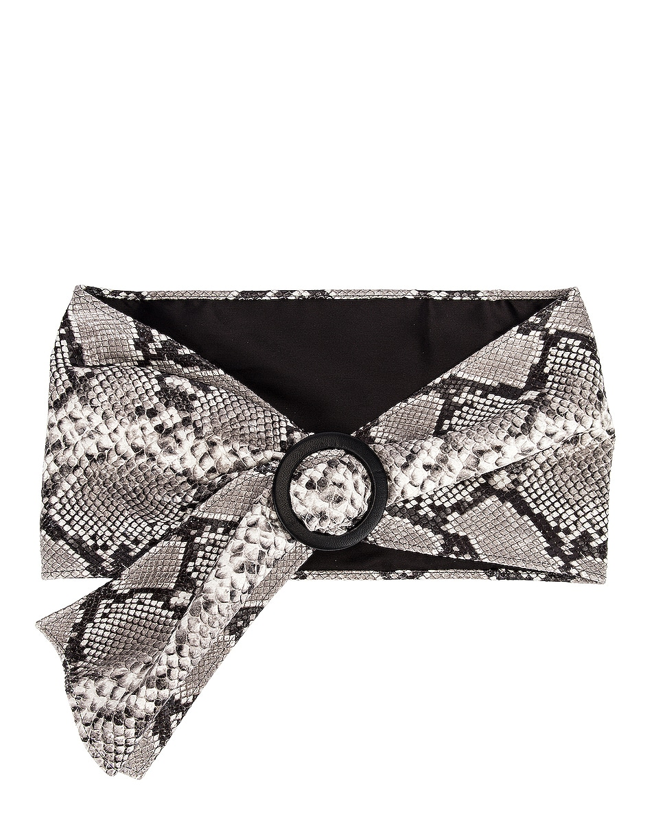 Image 1 of ATTICO Leather Python Belt in White & Black