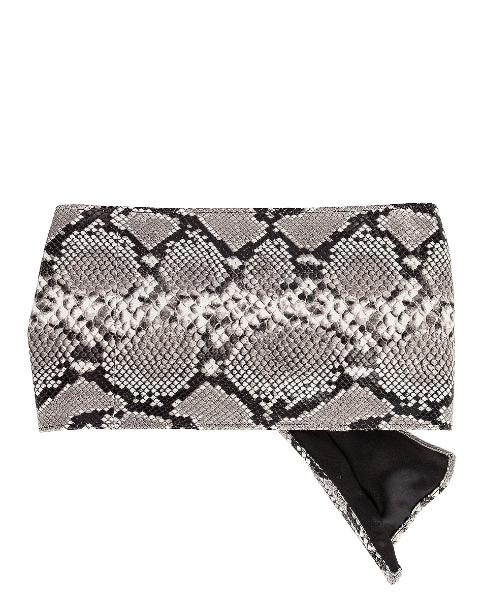 Image 2 of ATTICO Leather Python Belt in White & Black