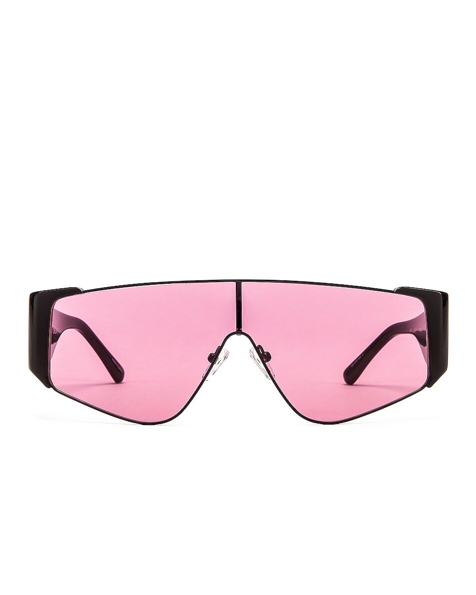 Image 1 of ATTICO Shield Sunglasses in Black & Pink
