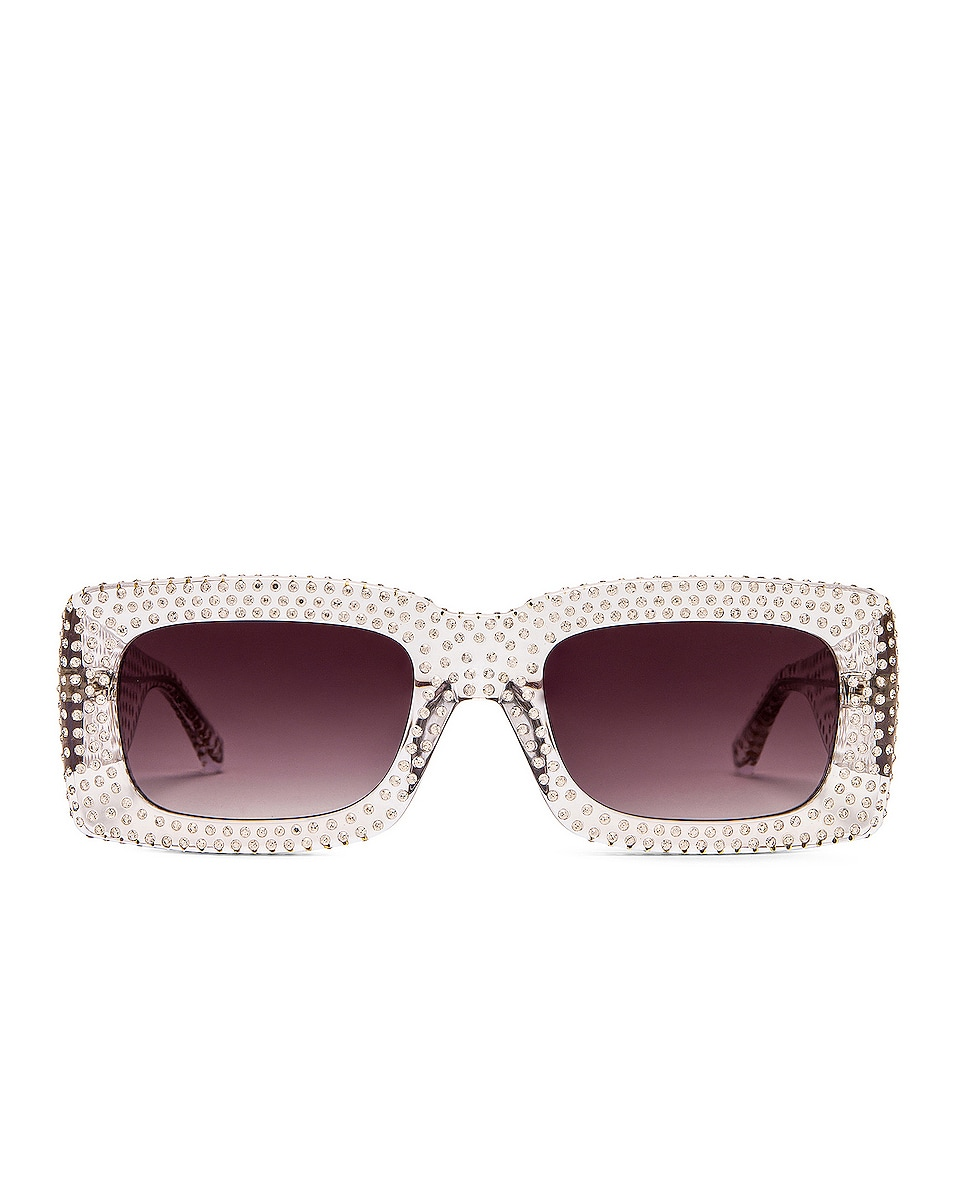 Image 1 of ATTICO Crystal Rectangular Sunglasses in Clear & Grey
