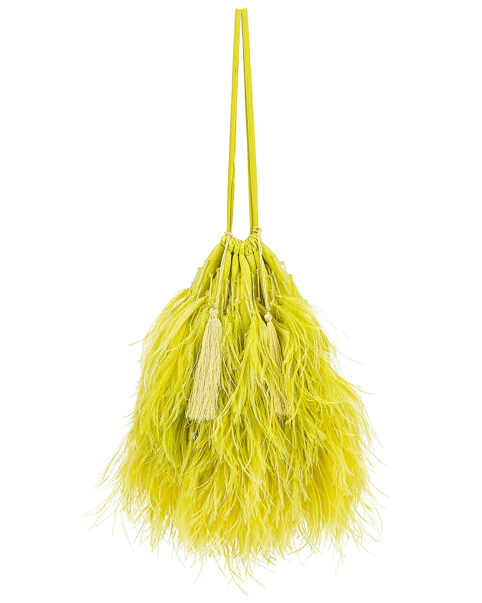 Image 1 of ATTICO Feather Pouch Bag in Lime