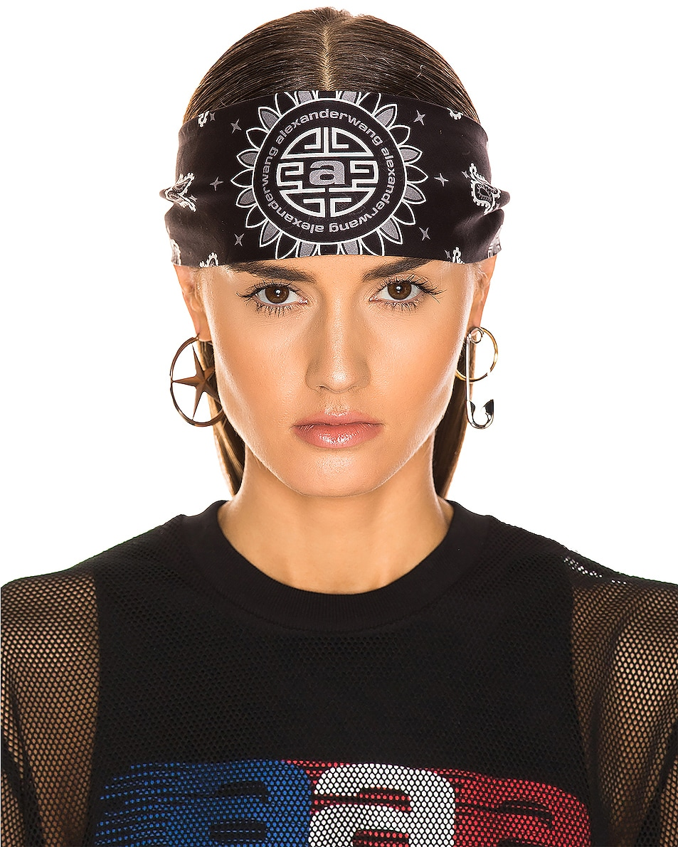 Image 3 of Alexander Wang Bandana Headband in Black