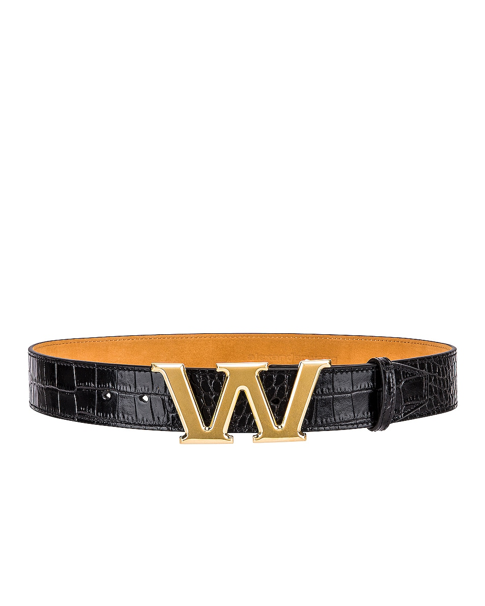 Image 2 of Alexander Wang Metal Logo Letter Belt in Black