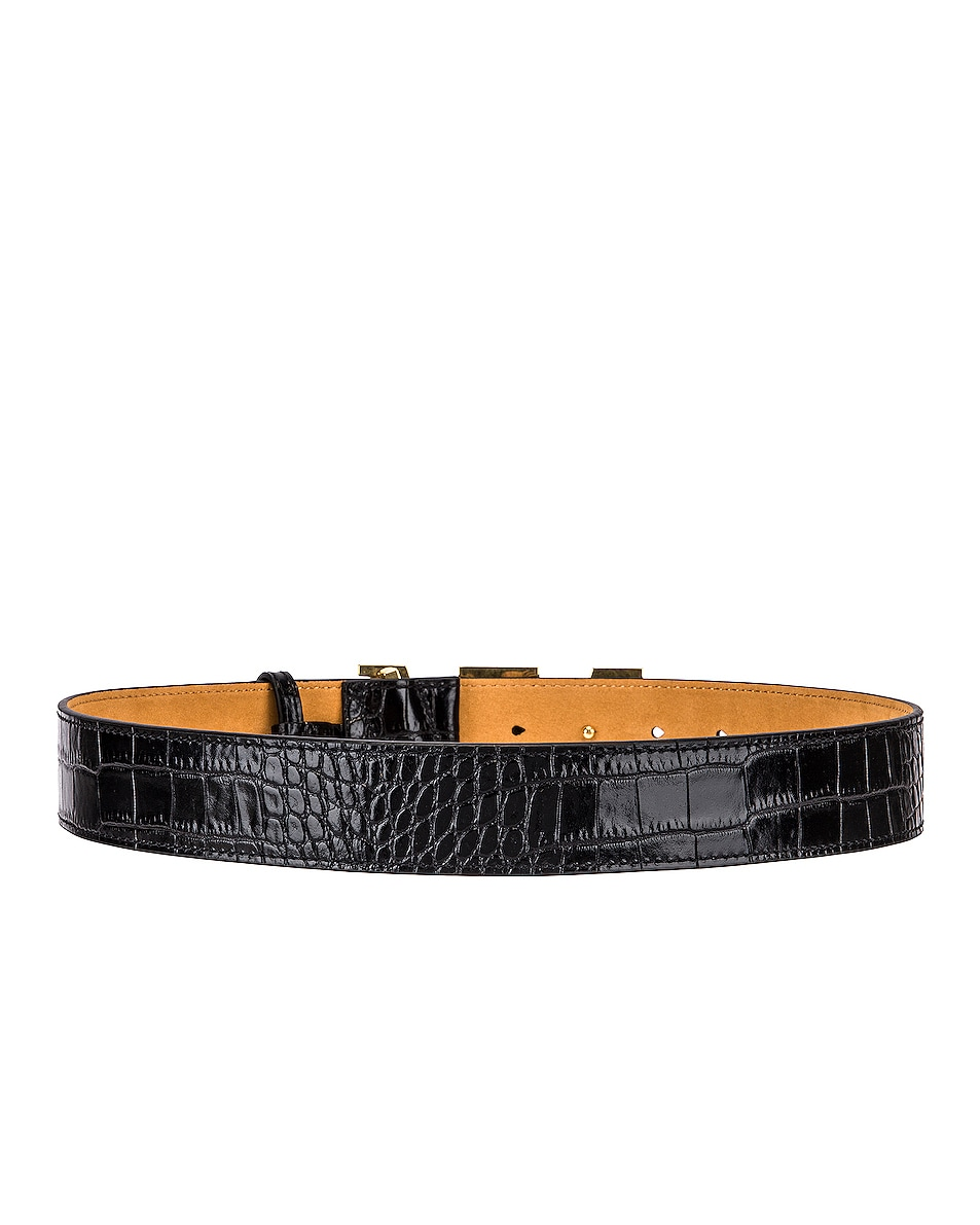 Image 3 of Alexander Wang Metal Logo Letter Belt in Black