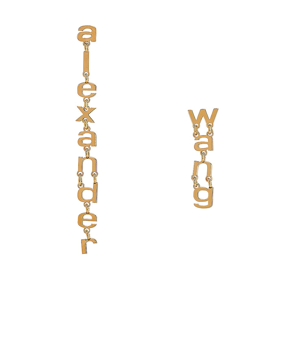 Image 1 of Alexander Wang Small Letter Earrings in Gold