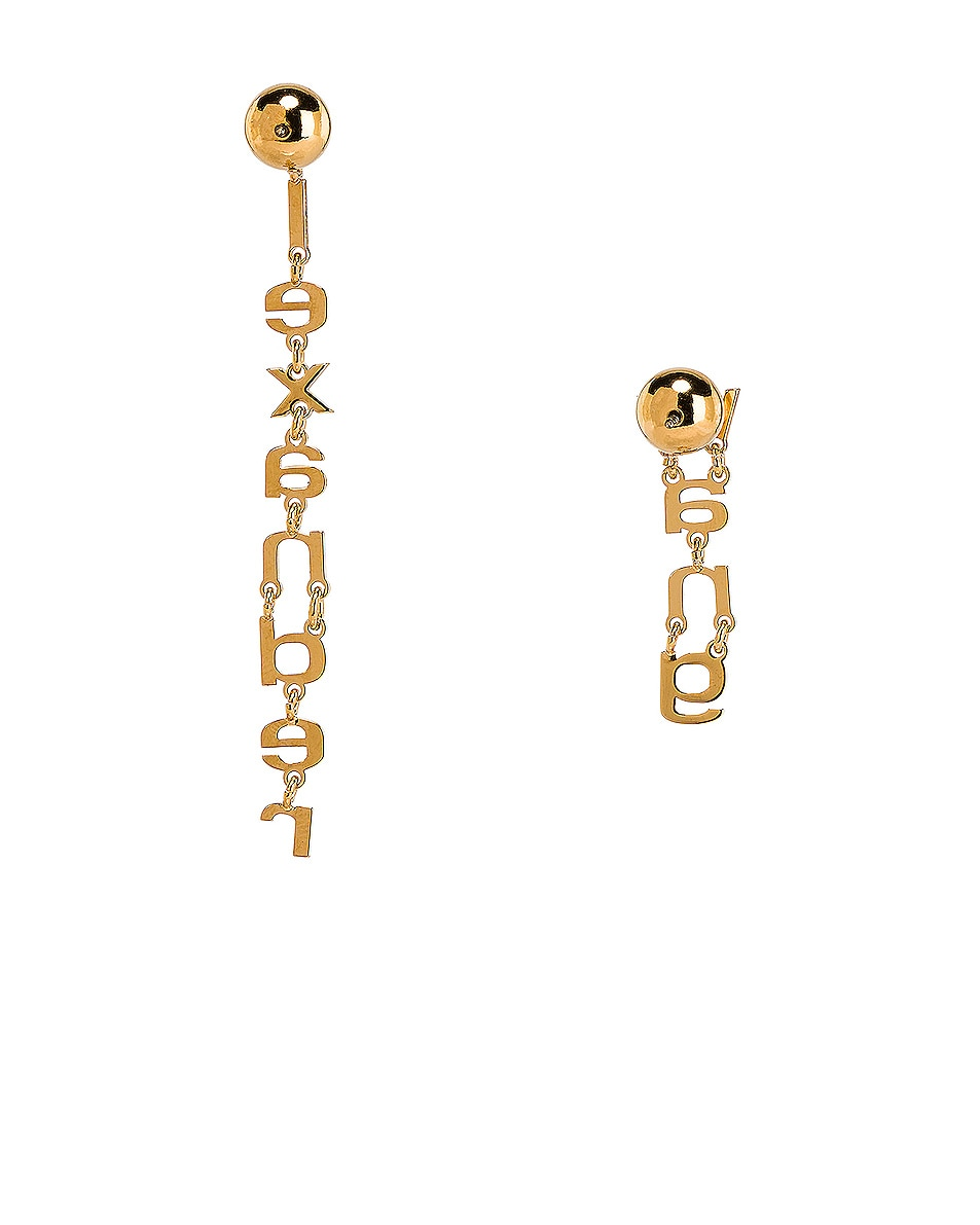 Image 4 of Alexander Wang Small Letter Earrings in Gold