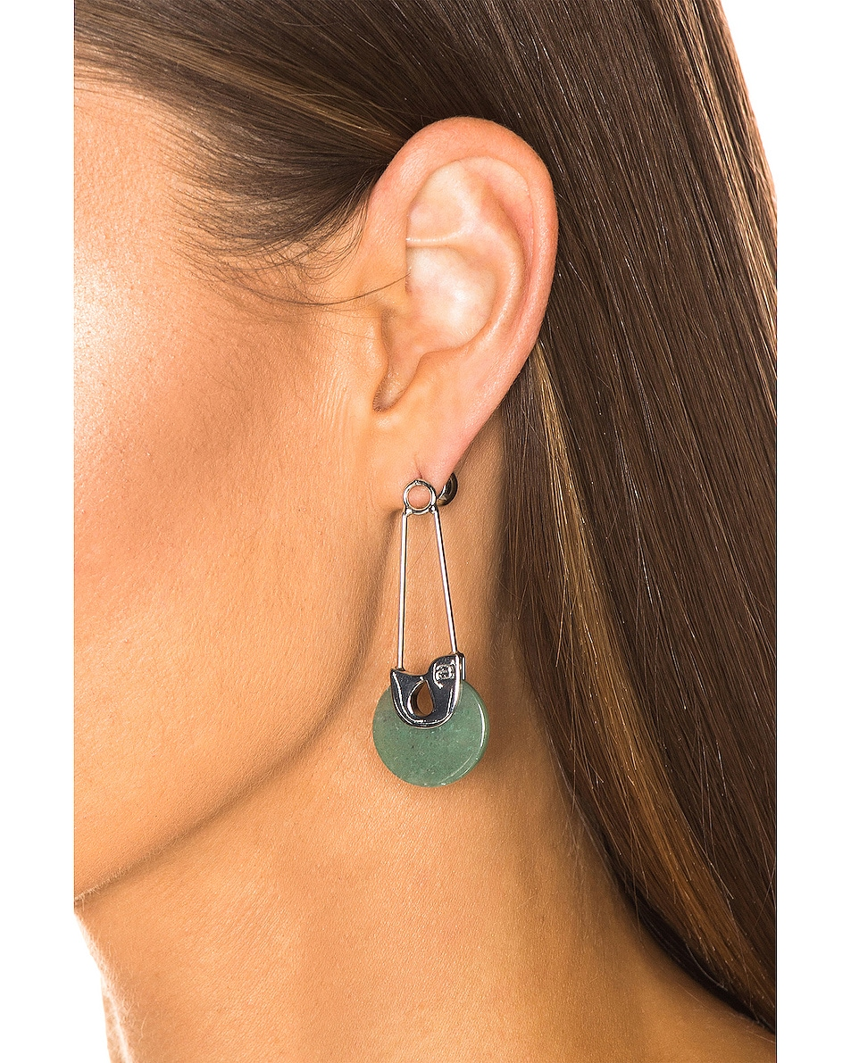Image 2 of Alexander Wang Safety Pin Earrings in Jade & Silver