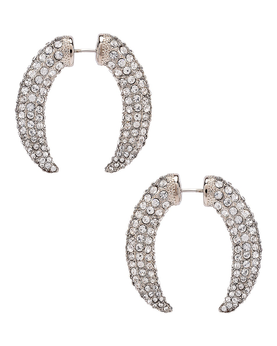 Image 1 of Alexander Wang Diamante Claw Faux Gauge Earrings in Silver