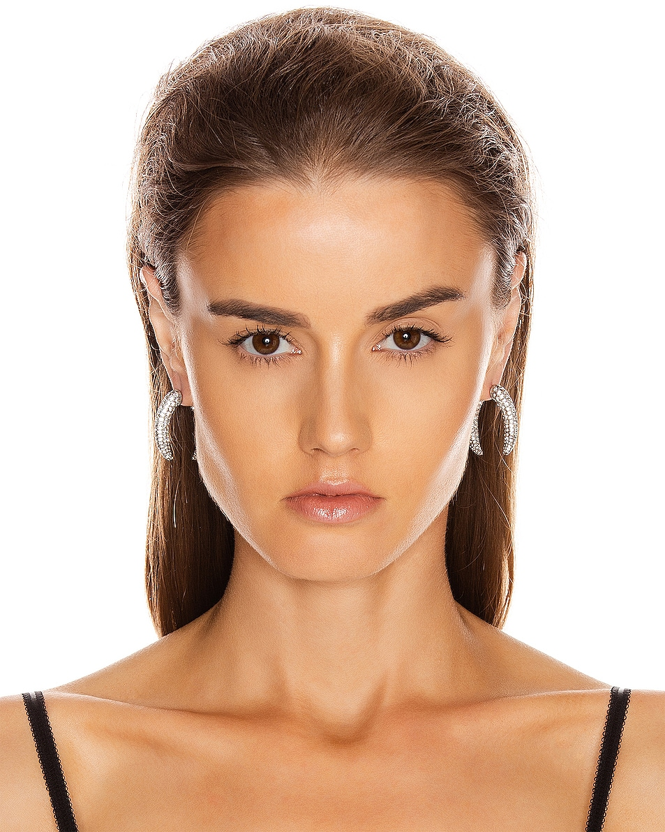 Image 2 of Alexander Wang Diamante Claw Faux Gauge Earrings in Silver