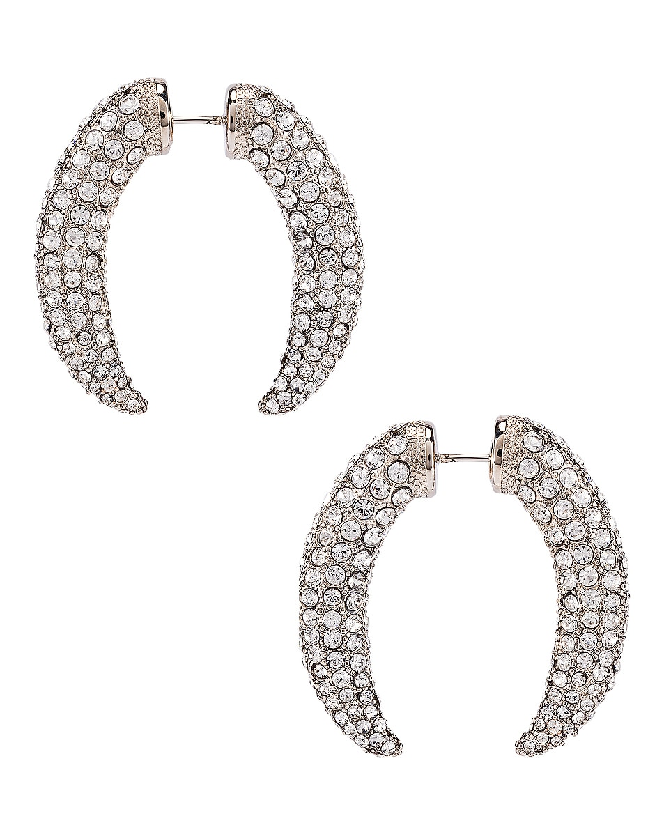 Image 4 of Alexander Wang Diamante Claw Faux Gauge Earrings in Silver