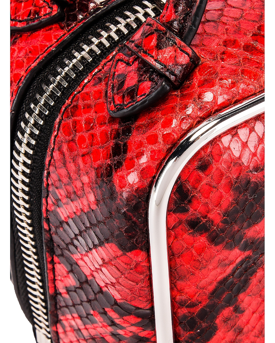 Image 7 of Alexander Wang Halo Top Handle Snake Print Bag in Red