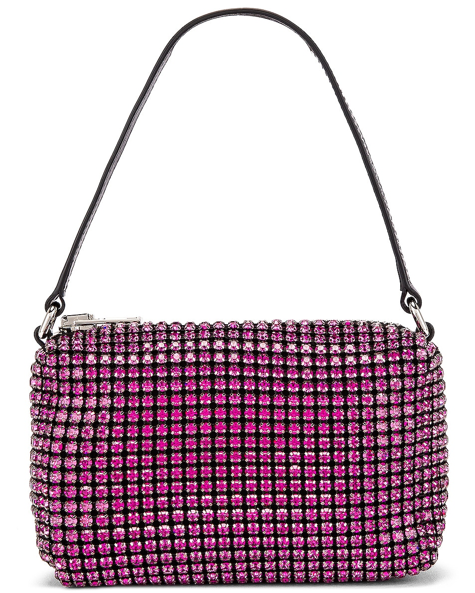 Image 1 of Alexander Wang Medium Pouch Rhinestone Mesh Bag in Fuchsia