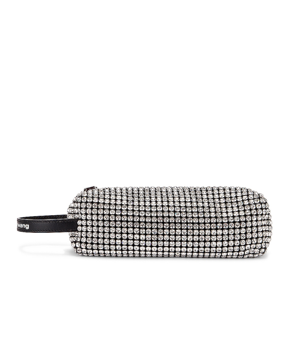 Image 1 of Alexander Wang Large Pouch Rhinestone Mesh Bag in White