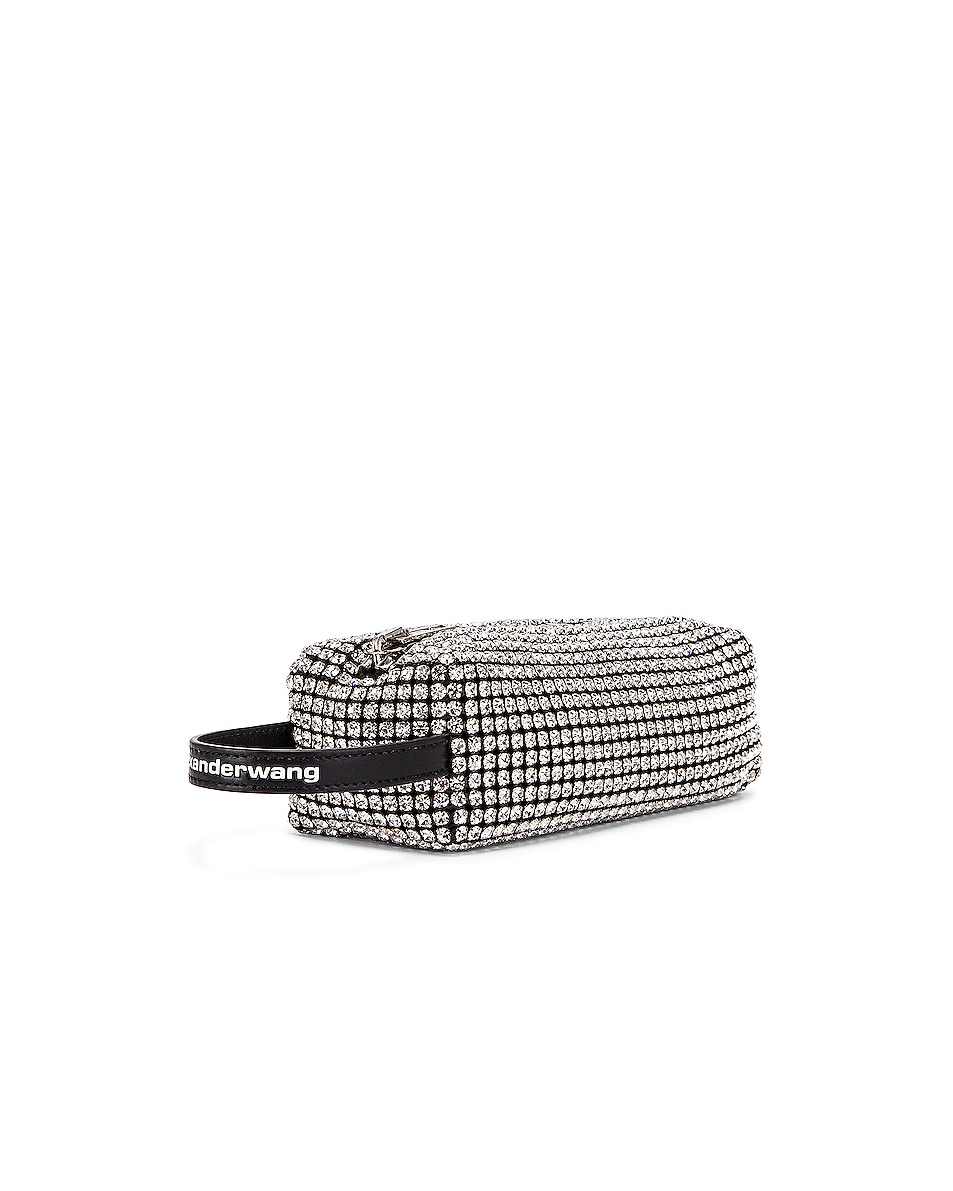 Image 4 of Alexander Wang Large Pouch Rhinestone Mesh Bag in White
